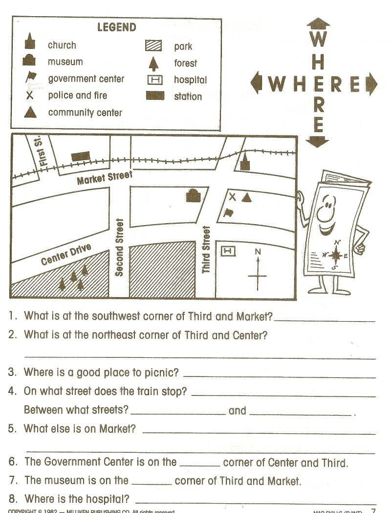 3rd Grade Map Skills Worksheets Map Legend Worksheet