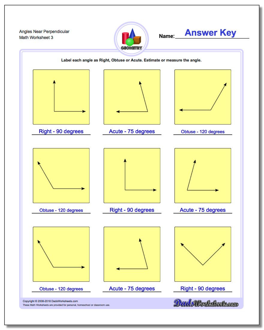 3rd Grade Measuring Worksheets Angles Right Obtuse Acute