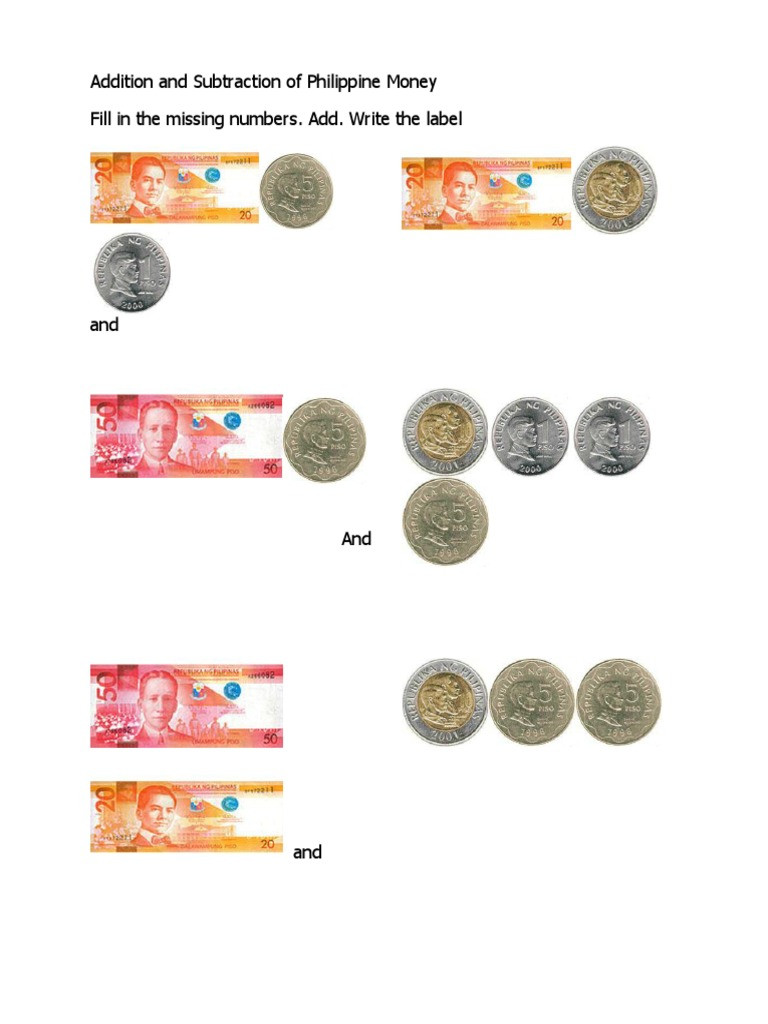 3rd Grade Money Worksheets Addition and Subtraction Philippine Money Coins Pesos
