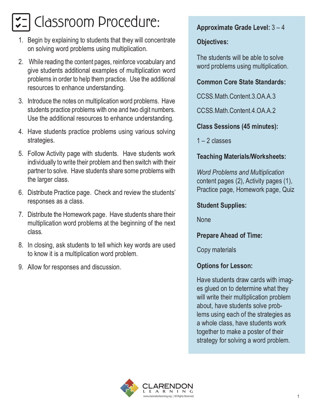 3rd Grade Vocabulary Worksheets Pdf Worksheets Multiplication and Division Word Problems Third
