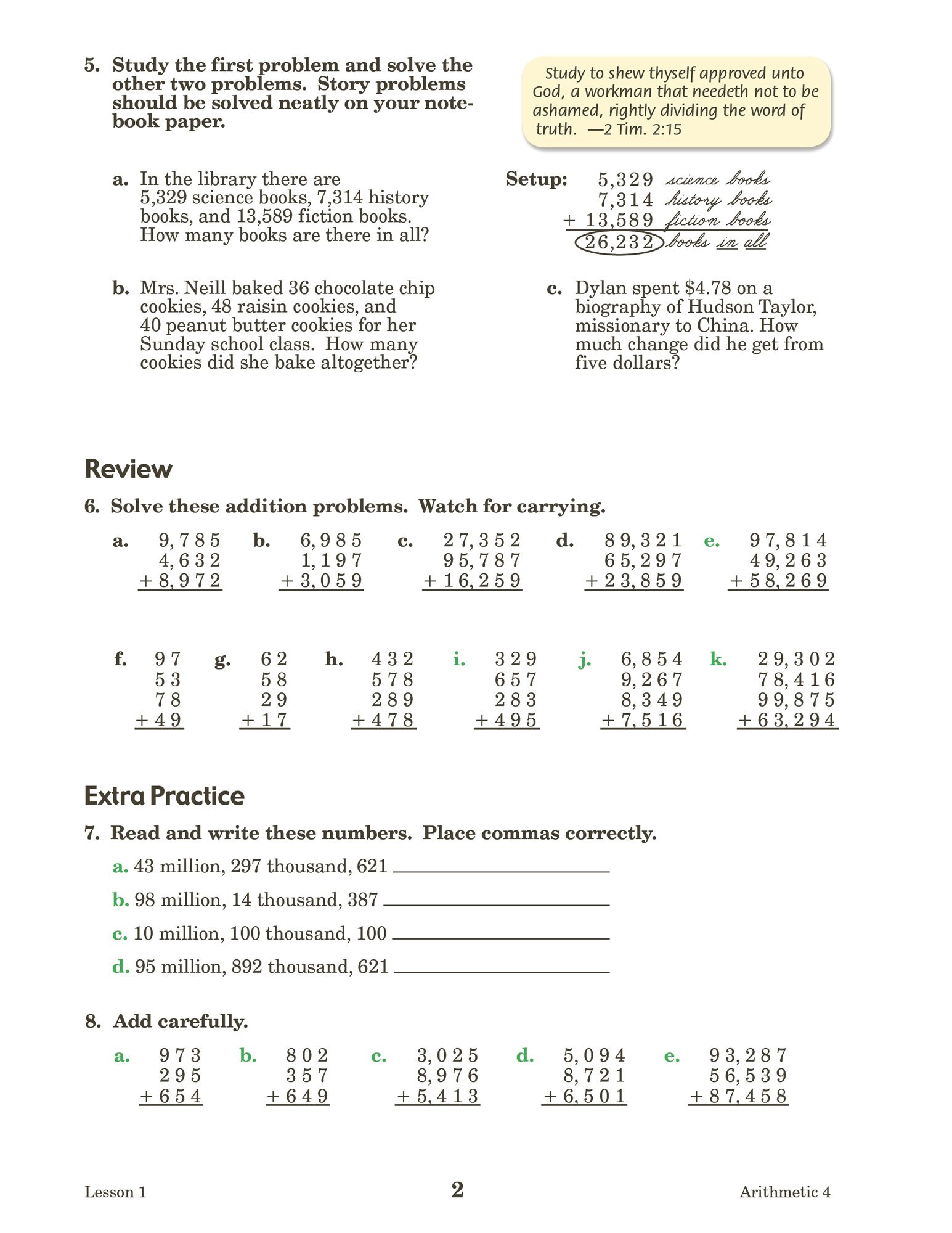 4th Grade Abeka Math Worksheets Arithmetic 4 Abeka Amazon Books