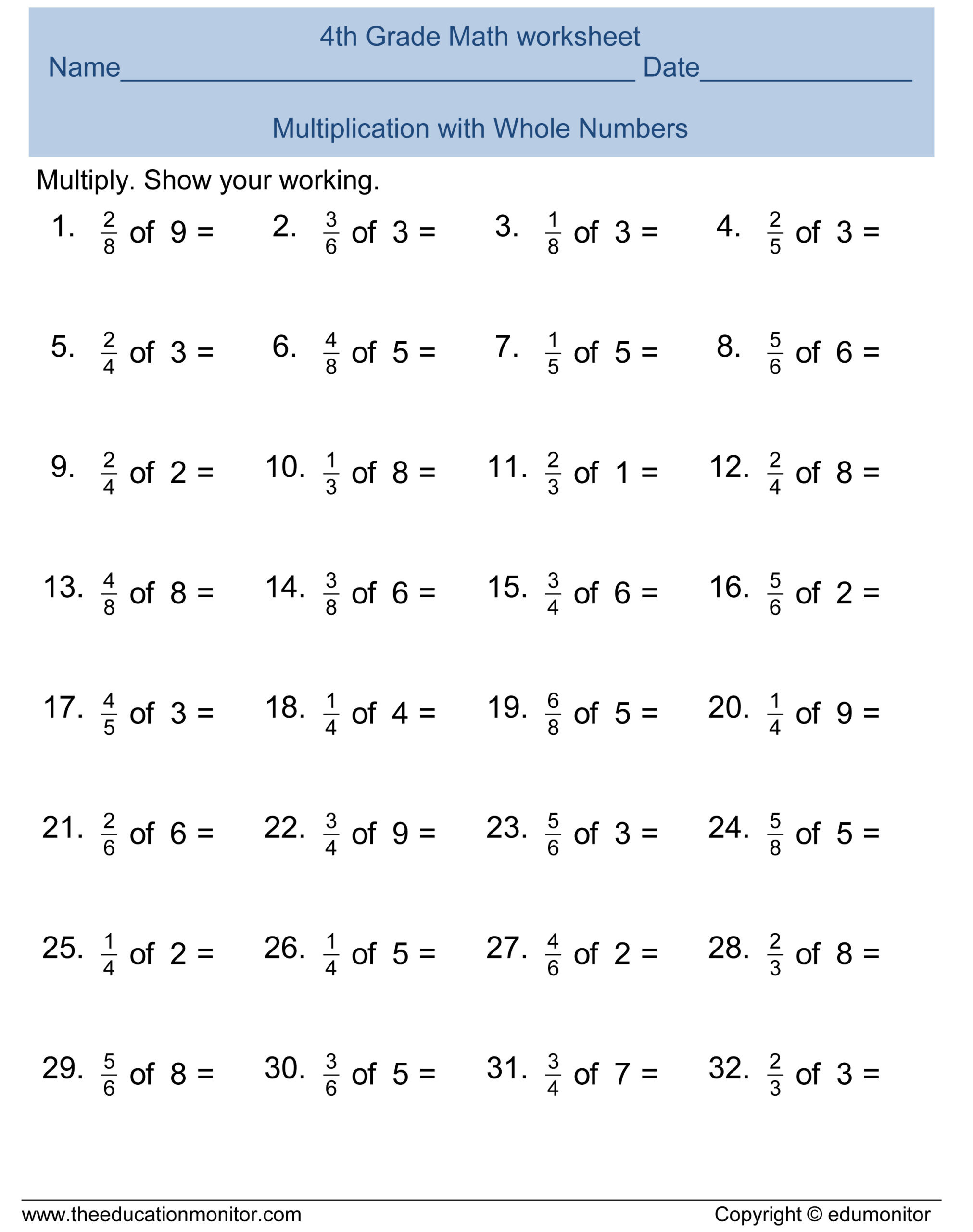 4th Grade Abeka Math Worksheets Free 4th Grade Fractions Math Worksheets and Printables