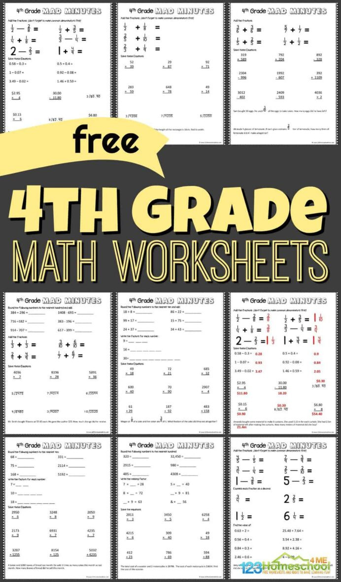 Free 4th Grade Math Worksheets Fourth Printable Abeka