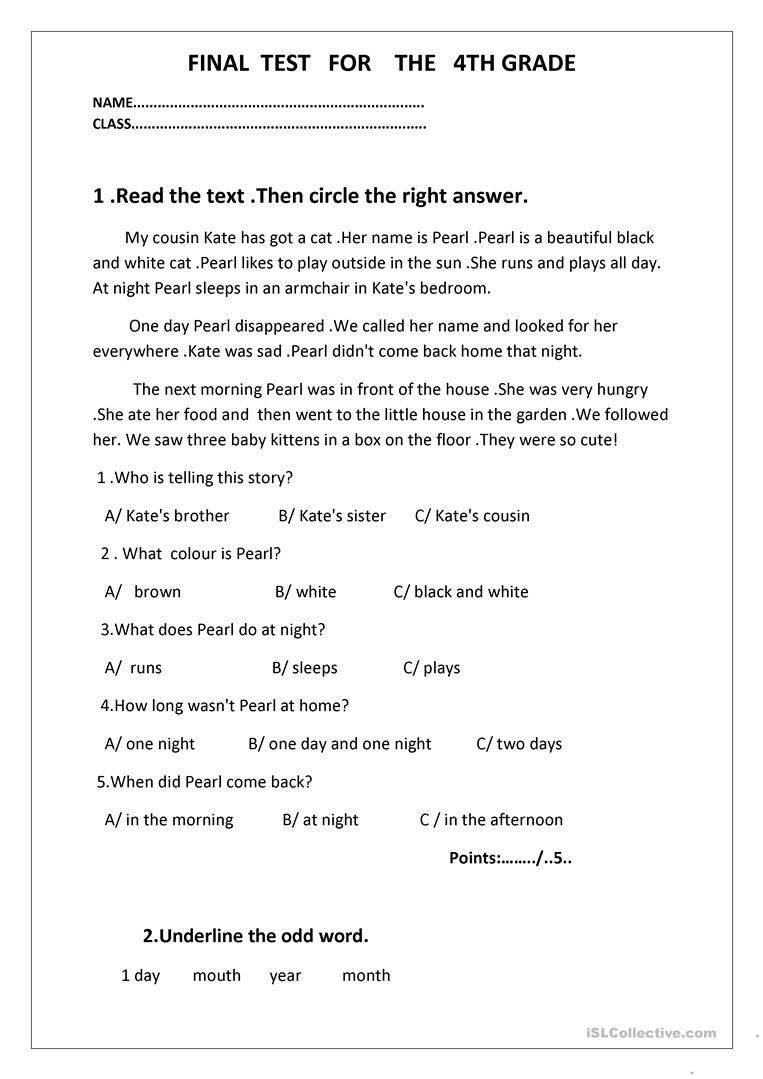 Final test for the 4th grade English ESL Worksheets for