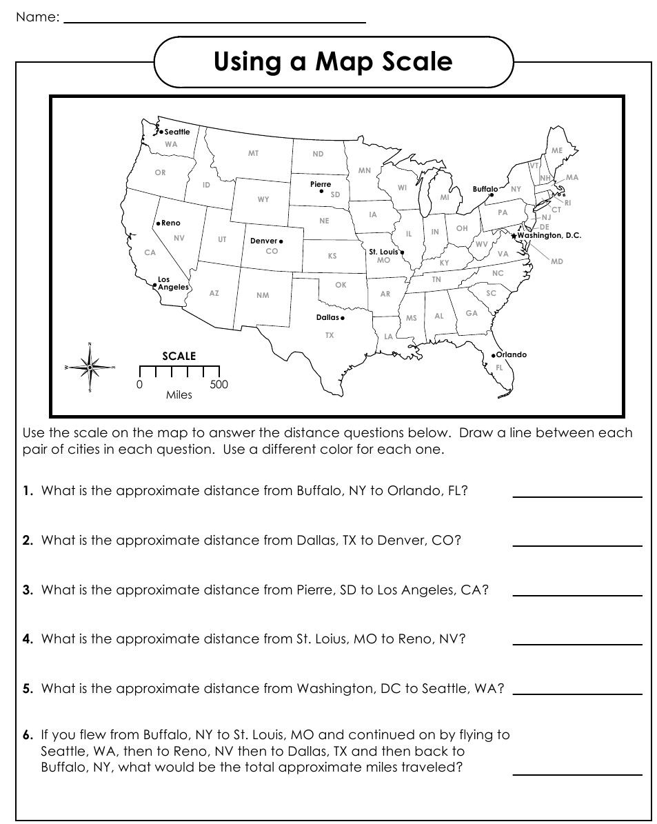 4th Grade Map Skills Worksheets Using A Map Scale Worksheets
