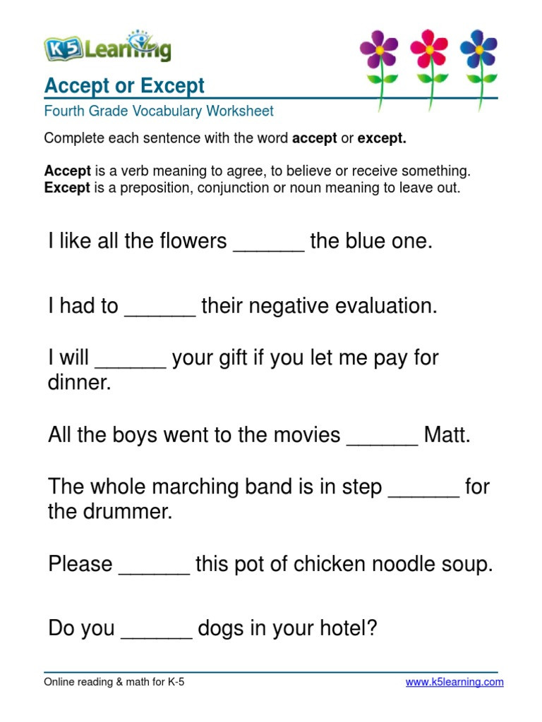 4th Grade Vocabulary Worksheets Pdf Vocabulary – 4th Grade Accept or Except Fourth Grade 4