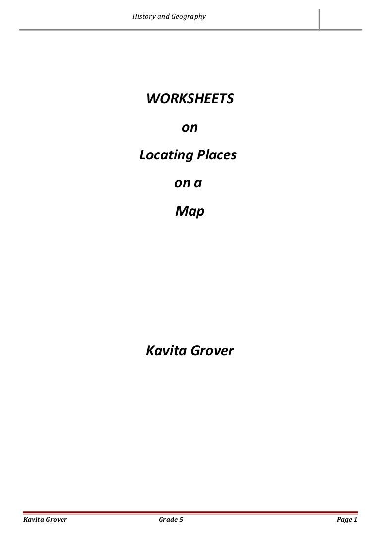 5th Grade Geography Worksheets Worksheets On Locating Places On A Map Geography and History