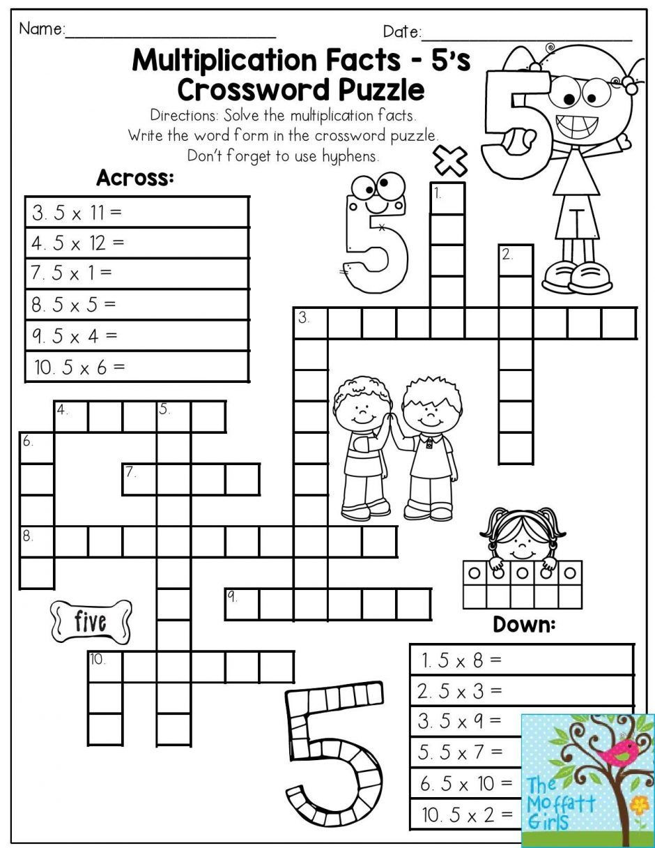 6th Grade Math Crossword Puzzles Multiplication Facts Crossword Puzzle Third Grade Students