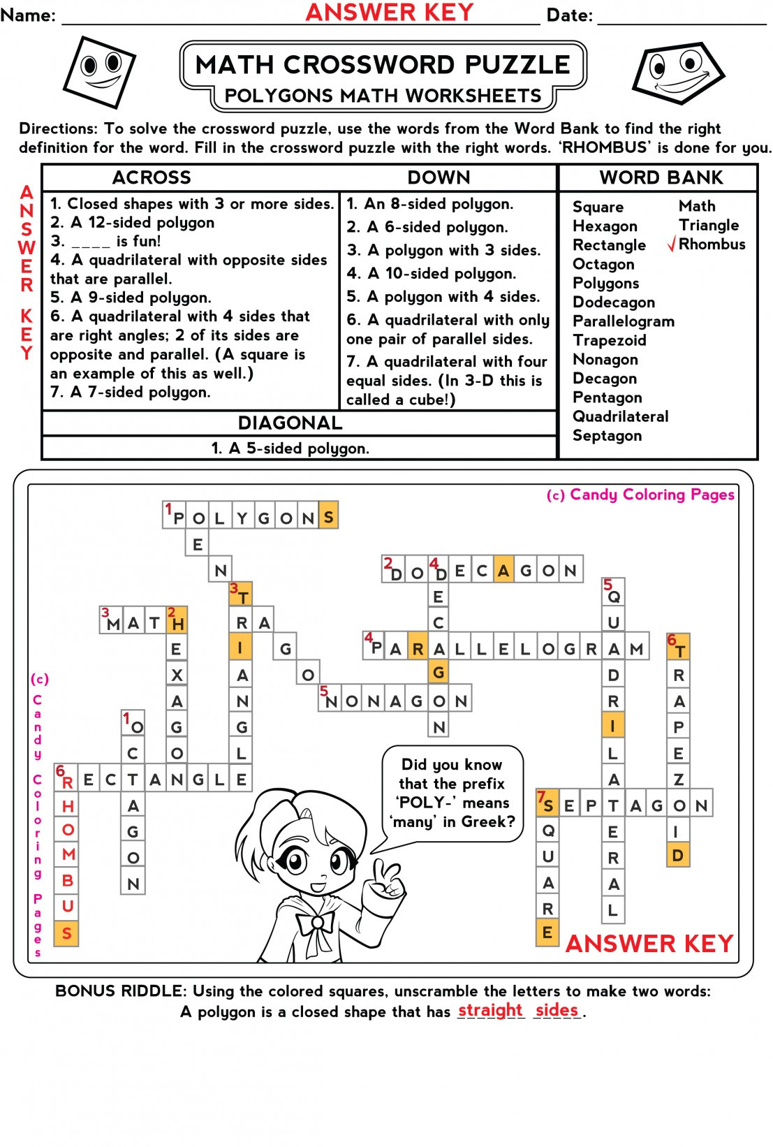 6th Grade Math Crossword Puzzles Water Crossword Puzzle Worksheet