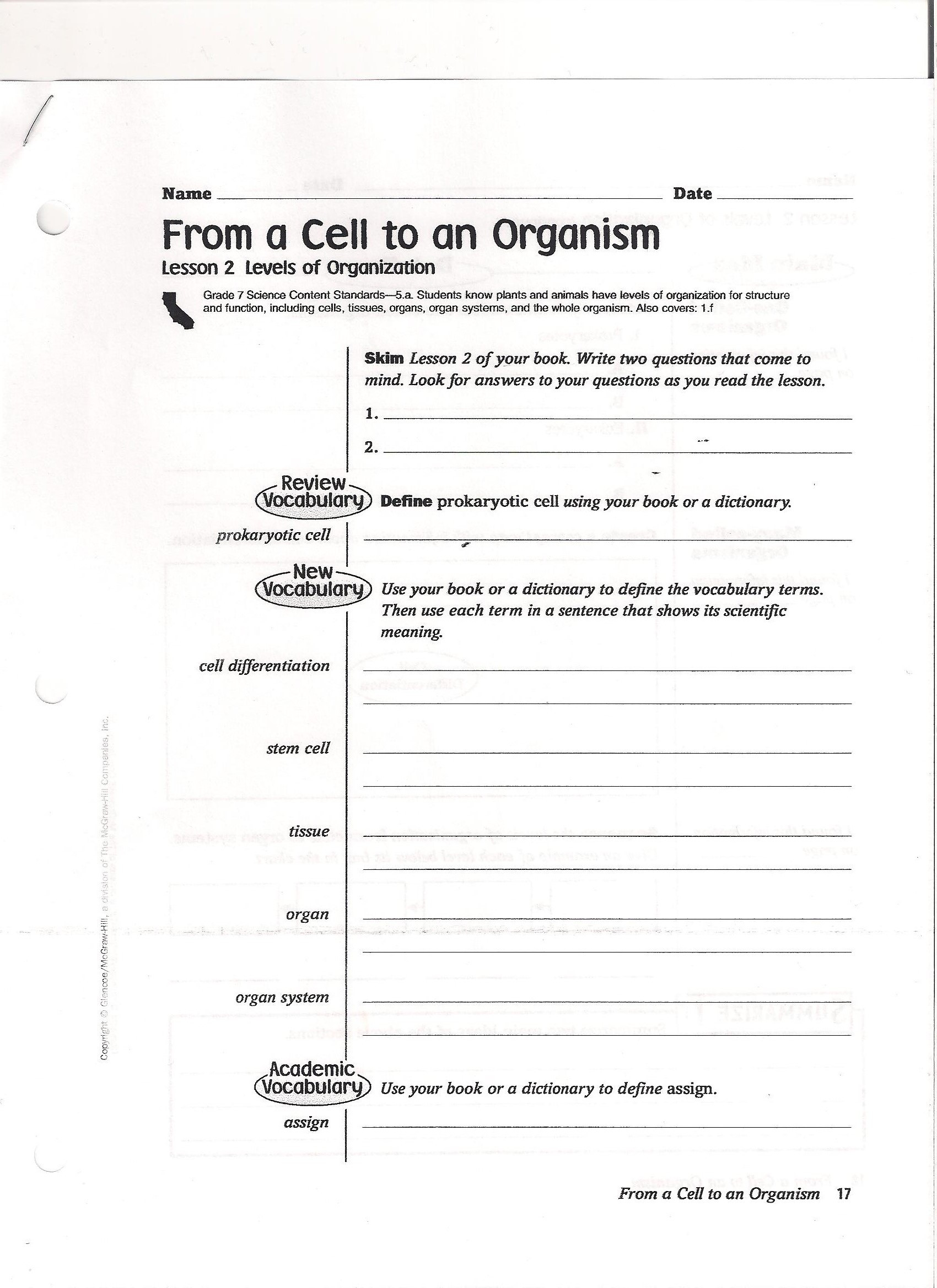 7th Grade Life Science Worksheets Unique is Life Science Worksheet Educational 7th Grade Cell