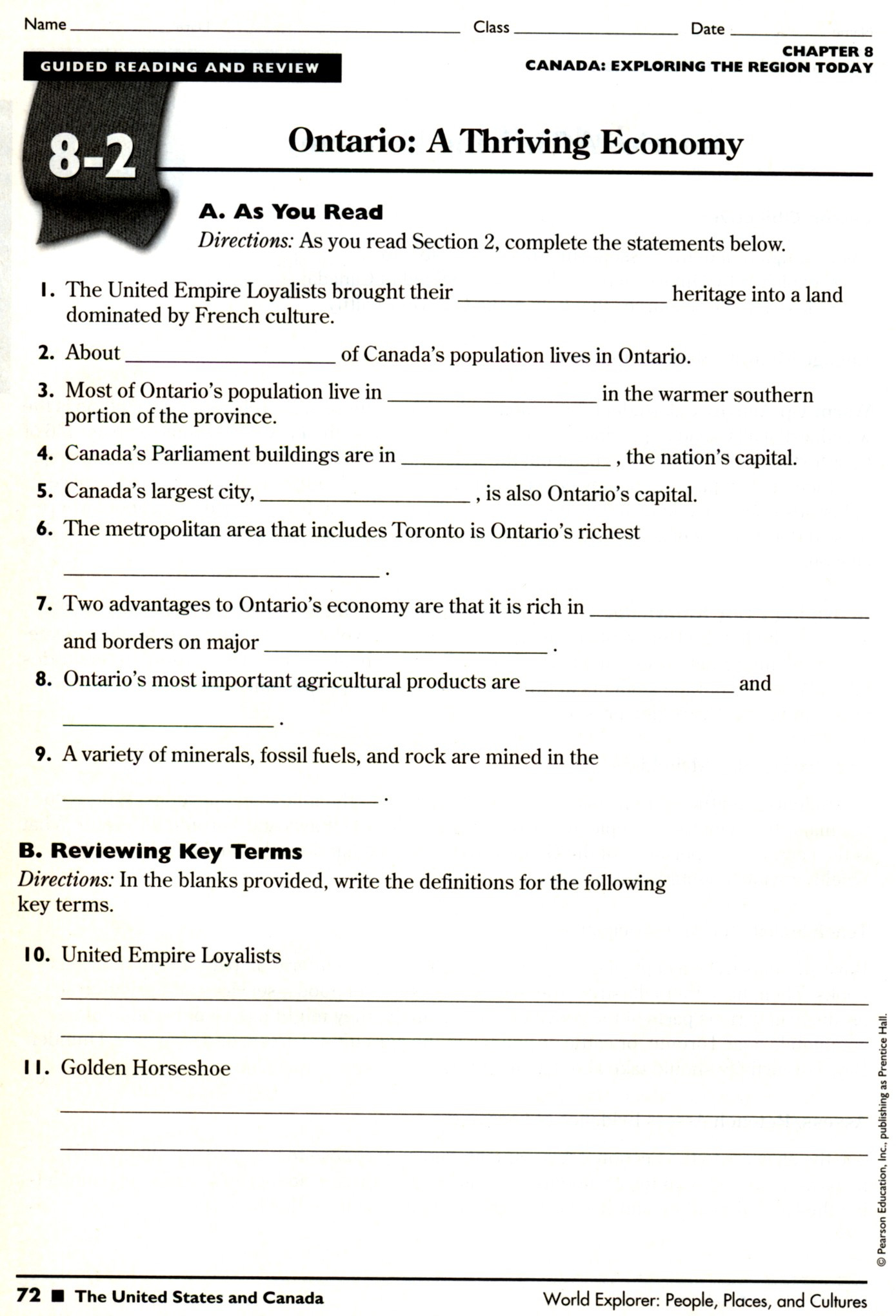7th Grade social Studies Worksheets Physical Geography the United States and Canada Worksheet