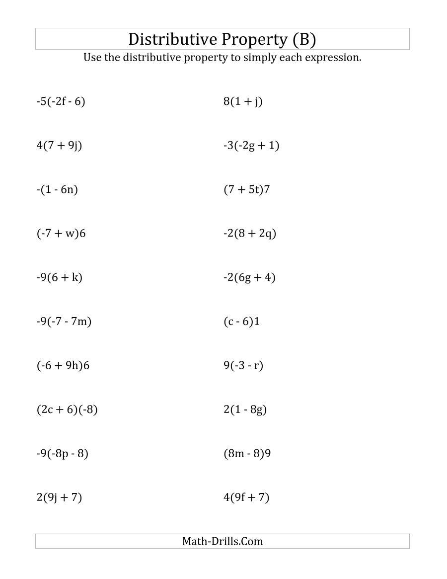 8th Grade Chemistry Worksheets the Using the Distributive Property Answers Do Not Include
