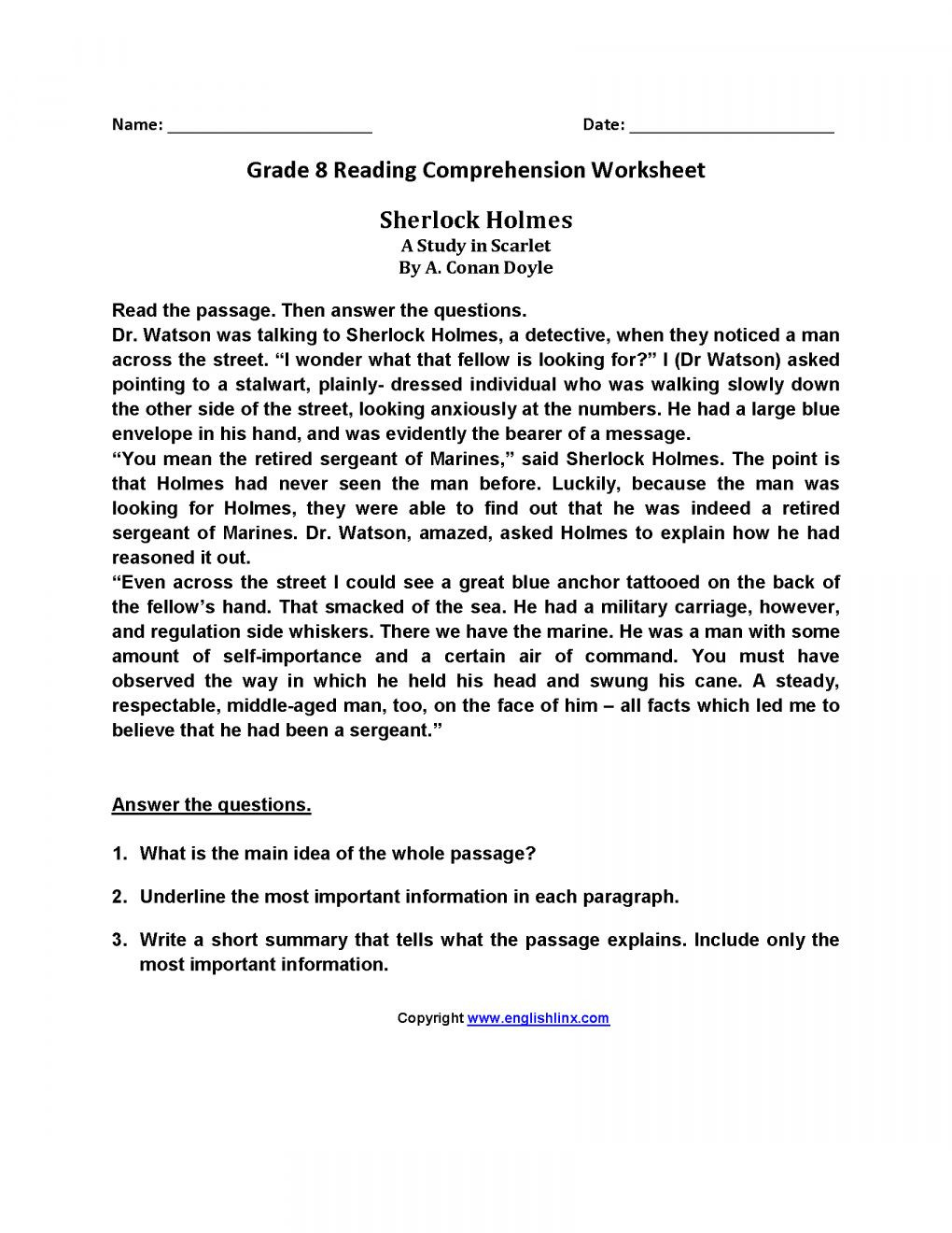 8th Grade Reading Worksheets Pin On Reading Prehension