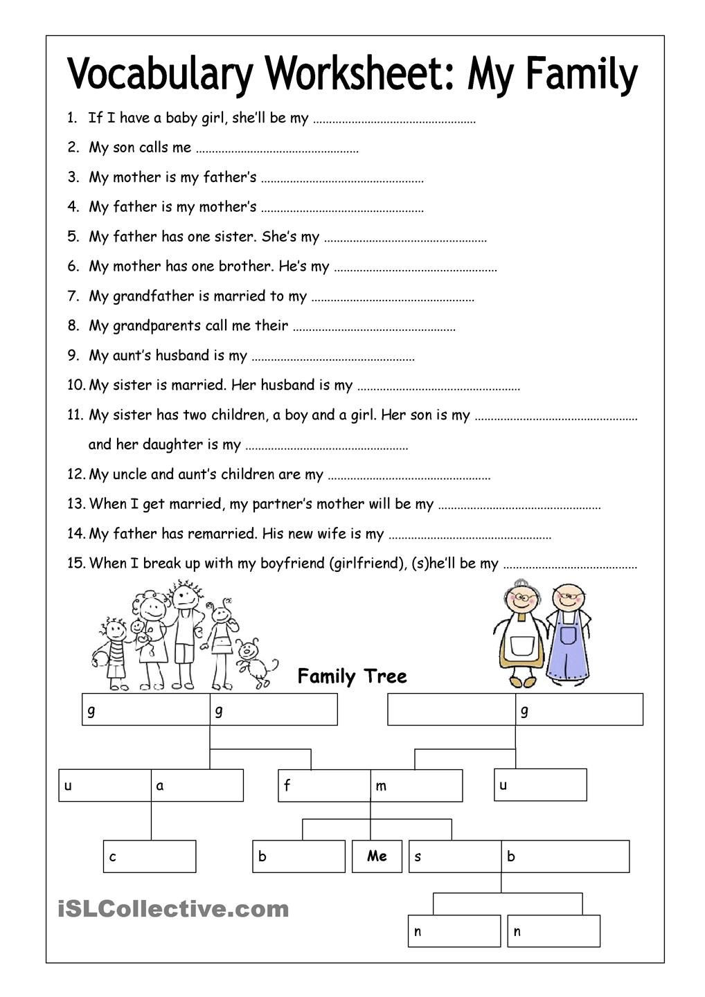 8th Grade Vocabulary Worksheets Vocabulary Worksheet My Family Medium