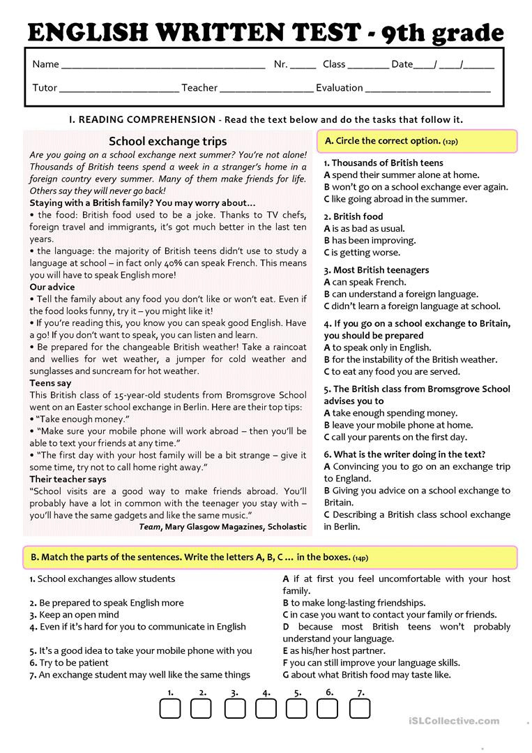 9th Grade Grammar Worksheets Exchange Programmes Test A2 B1 9th Grade Version A