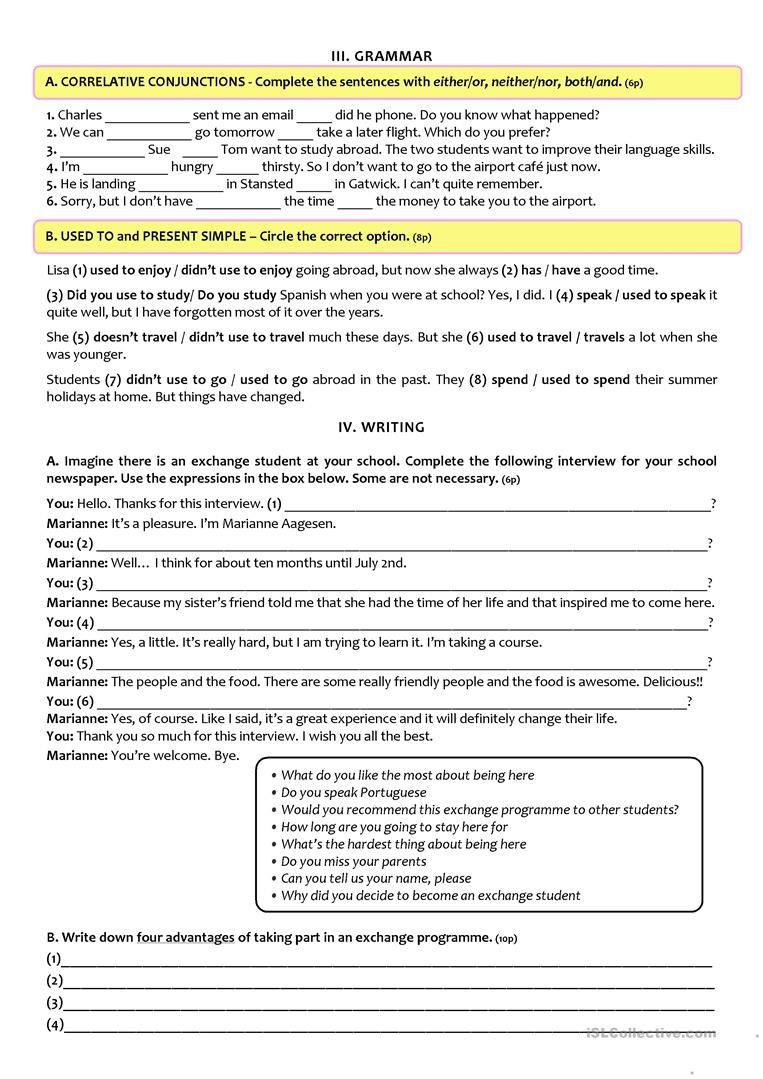9th Grade Printable Worksheets Exchange Programmes Test A2 B1 9th Grade Version B