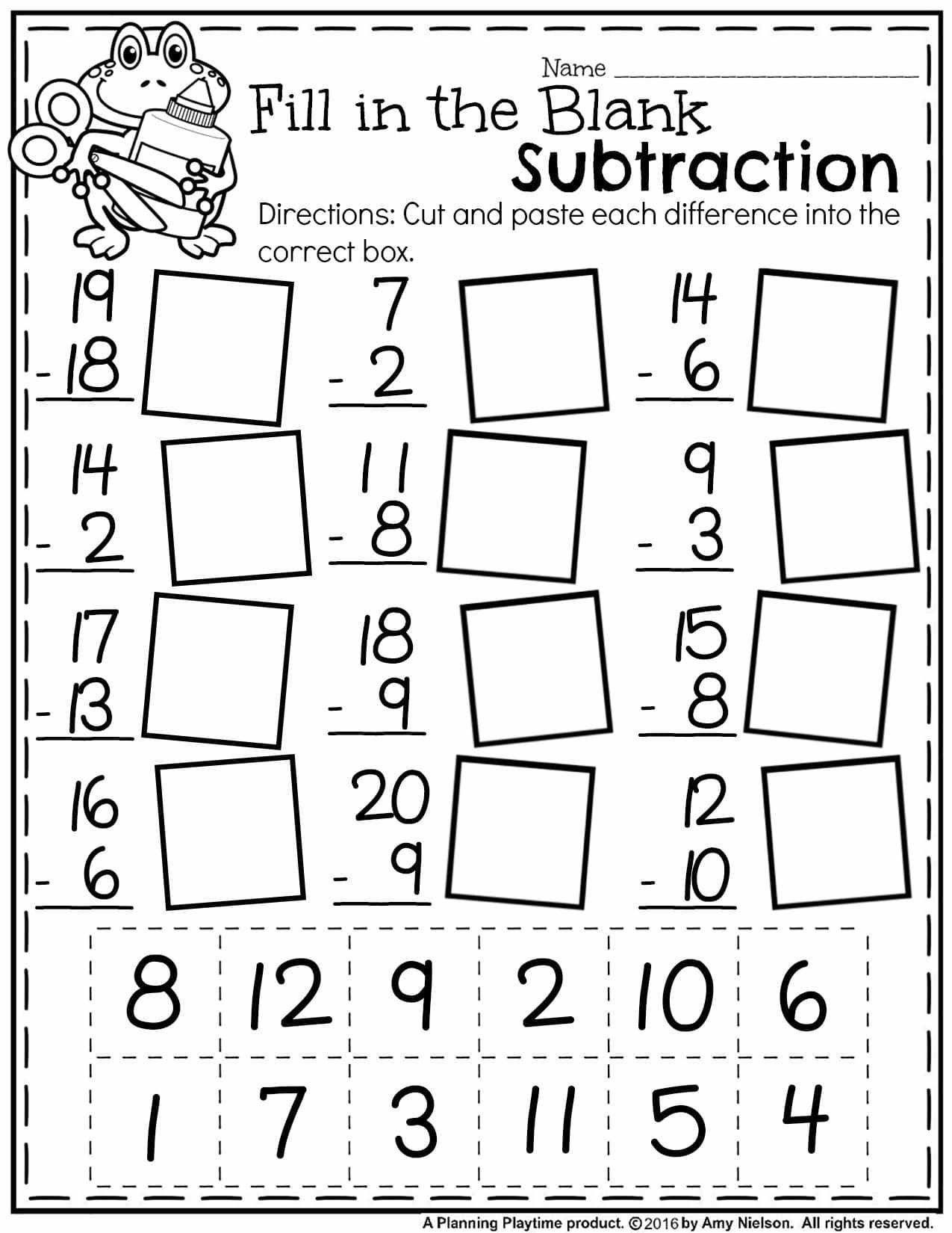 Abeka Math Worksheets Free Math Worksheets First Grade Subtraction Single Digit