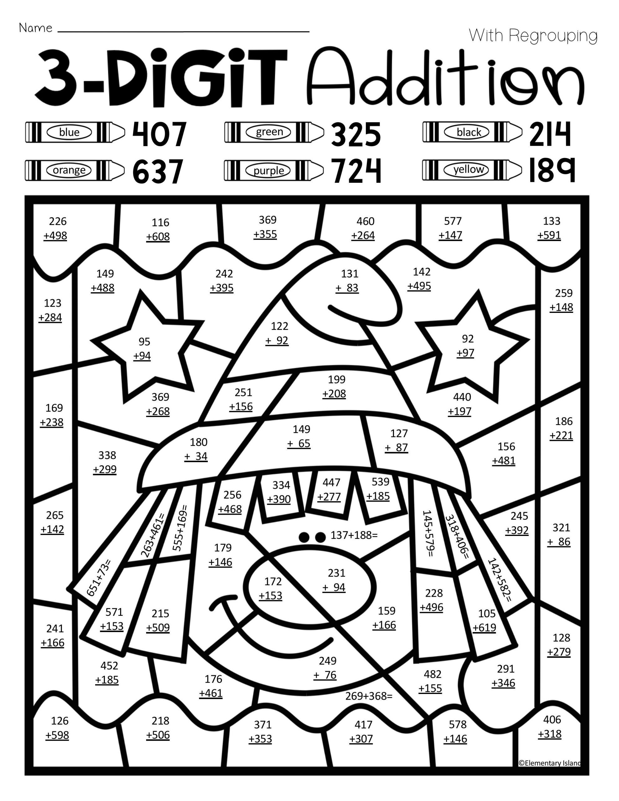 Addition Math Coloring Worksheets Free Math Coloring Worksheets for Kids Color by Number 3rd