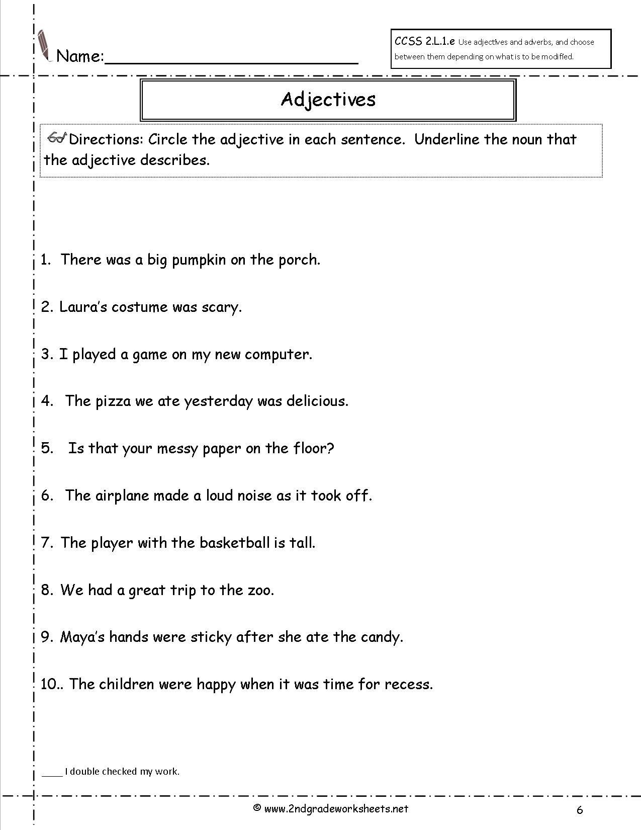 Adjective Worksheets 2nd Grade Adjectives Worksheet for First Grade
