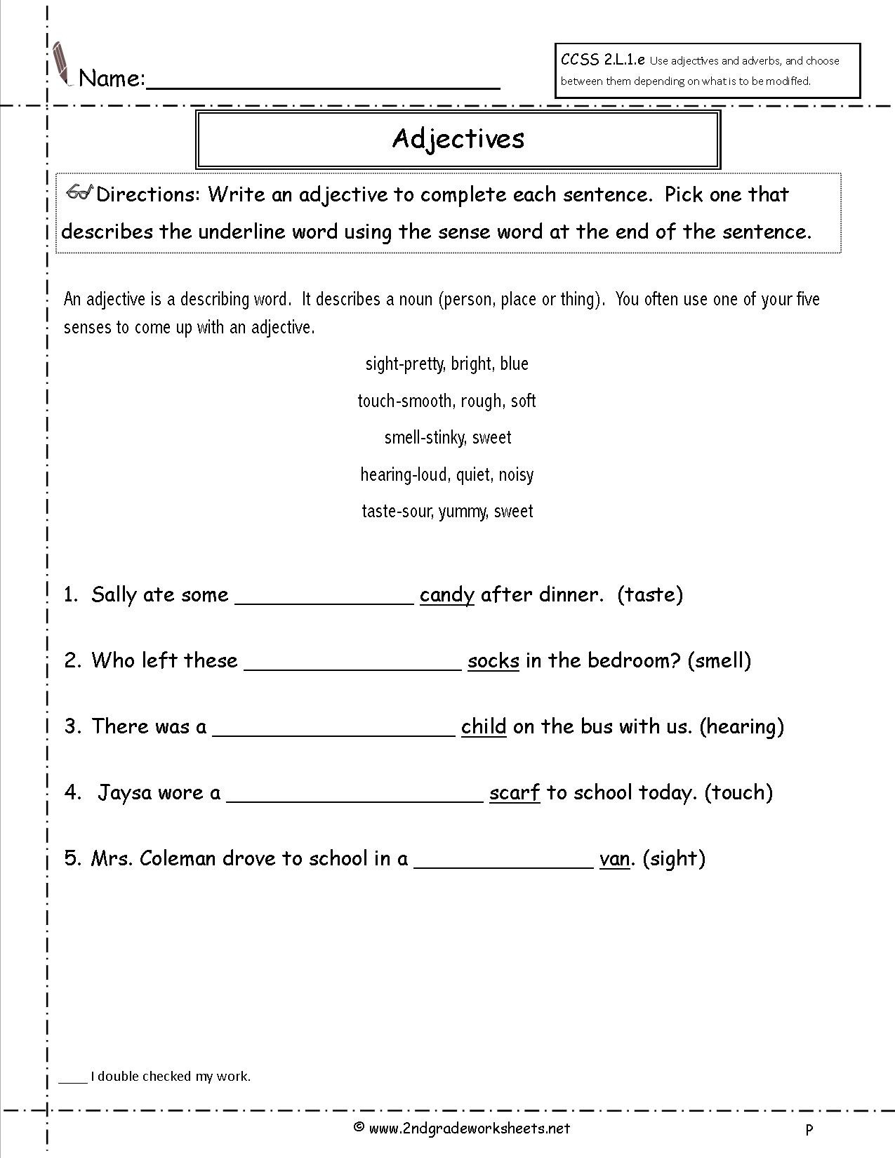 Adjective Worksheets 2nd Grade Basic Algebra Skills the Pound Effect Worksheets Free