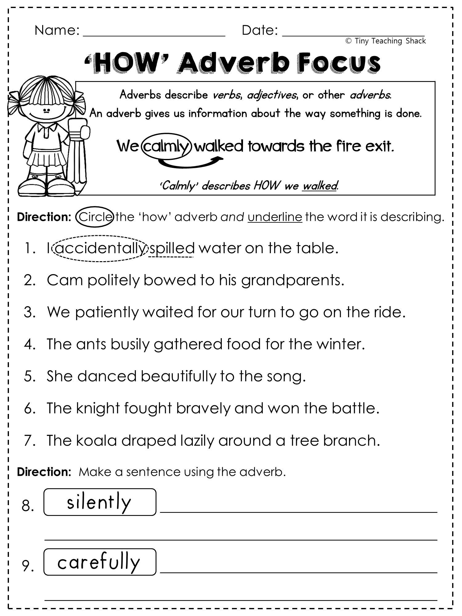 Adjective Worksheets 2nd Grade Math Worksheet Grade English Worksheets Printable and