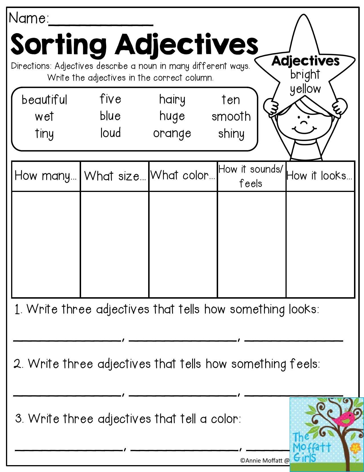 Adjective Worksheets 2nd Grade sorting Adjectives Adjectives Describe A Noun In Many