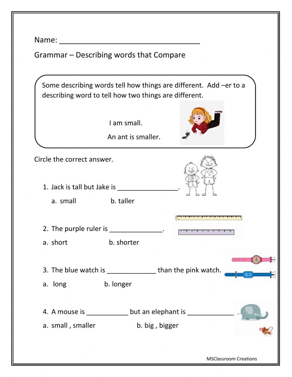 Adjectives Worksheets for Grade 1 Adjectives that Pare Using Er Interactive Worksheet