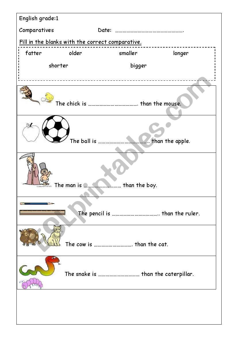 Adjectives Worksheets for Grade 1 Paratives Esl Worksheet by Dhonaa
