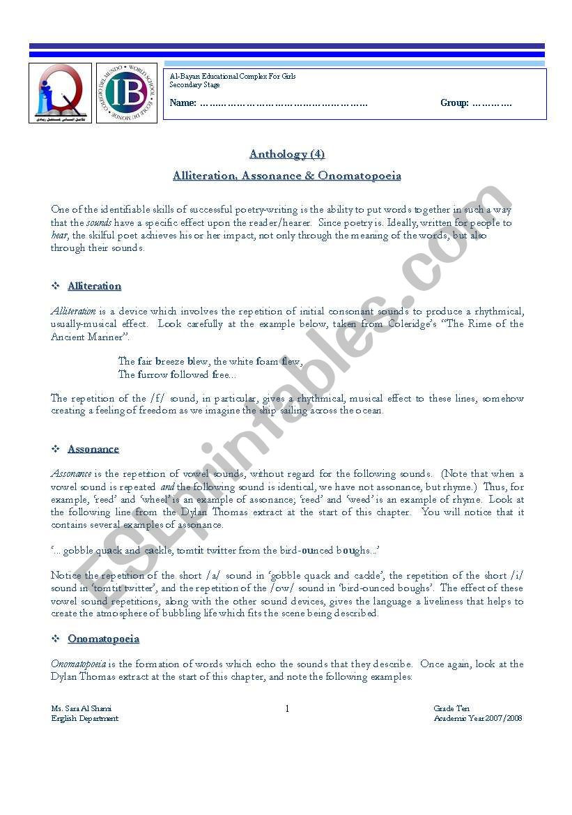 Alliteration Worksheets for Middle School Alliteration assonance & Omatopoeia Esl Worksheet by