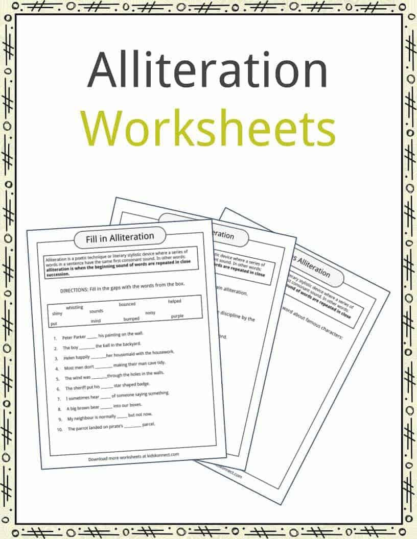 Alliteration Examples Definition & Worksheets