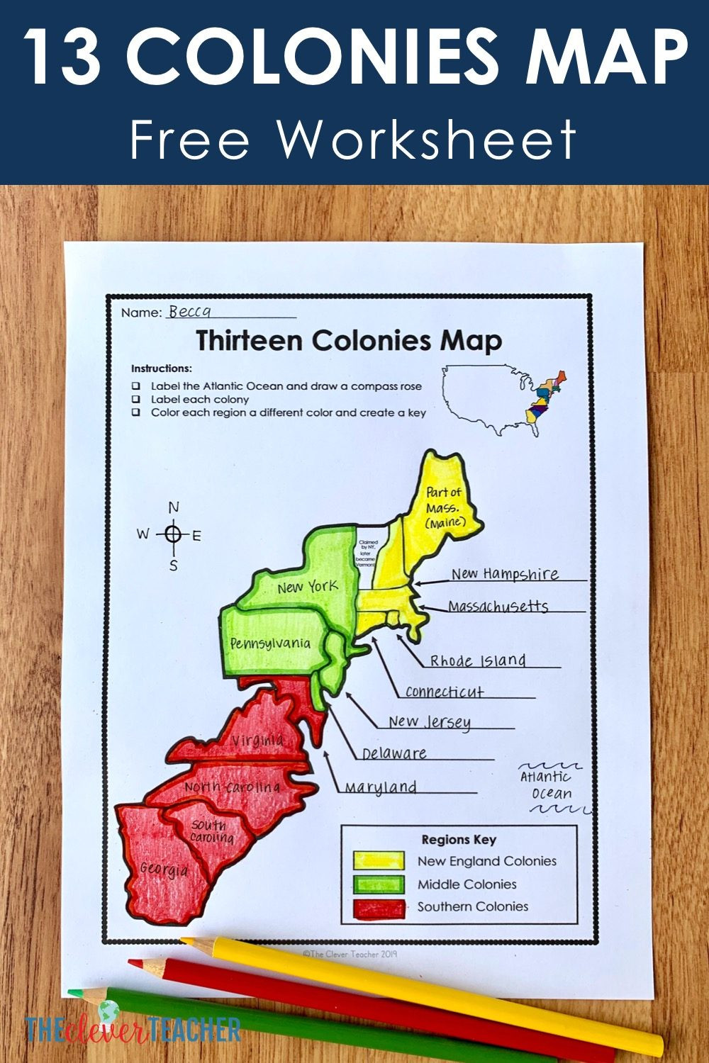 Blank Us Map Quiz Printable 13 Colonies Free Map Worksheet and Lesson for Students