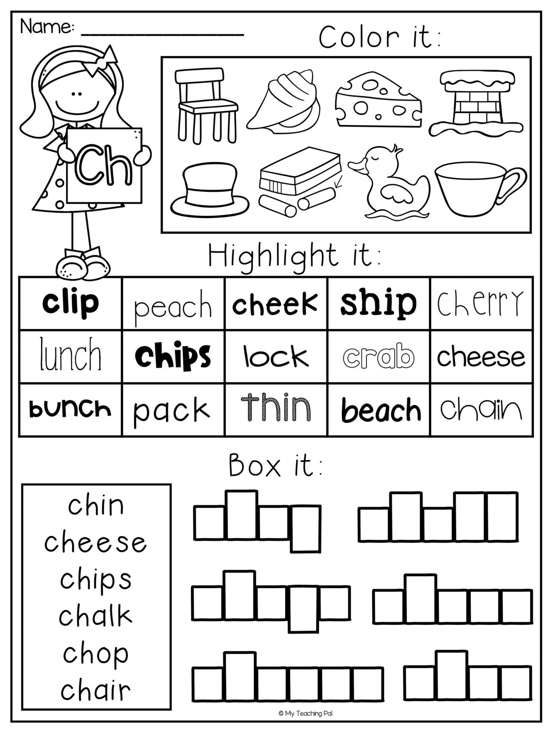 Blends Worksheet for First Grade Digraph Worksheet Packet Ch Sh Th Wh Ph