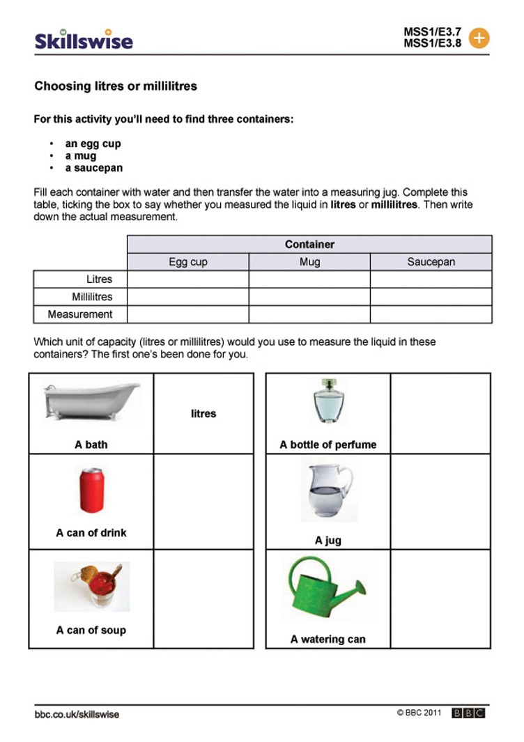 Capacity Worksheets 3rd Grade Litres Worksheet Year 3