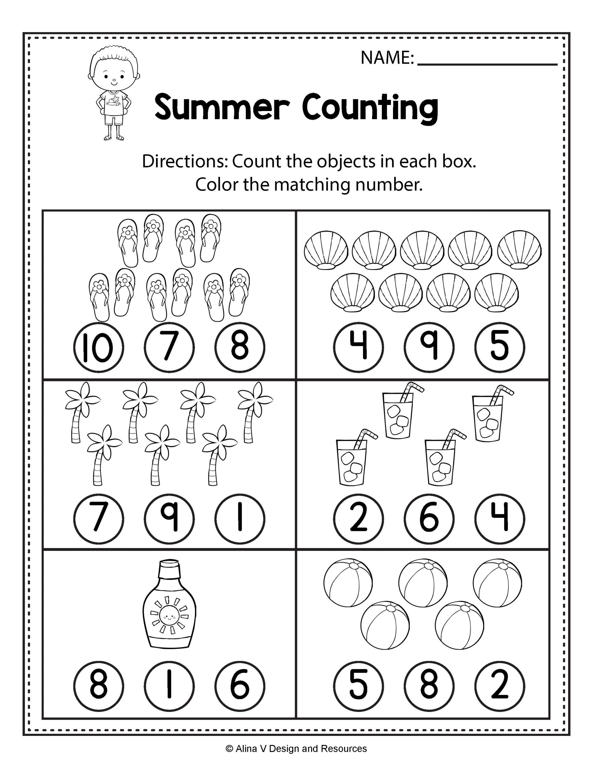 Categorizing Worksheets for 1st Grade Counting Worksheets Summer Math Worksheets and Activities
