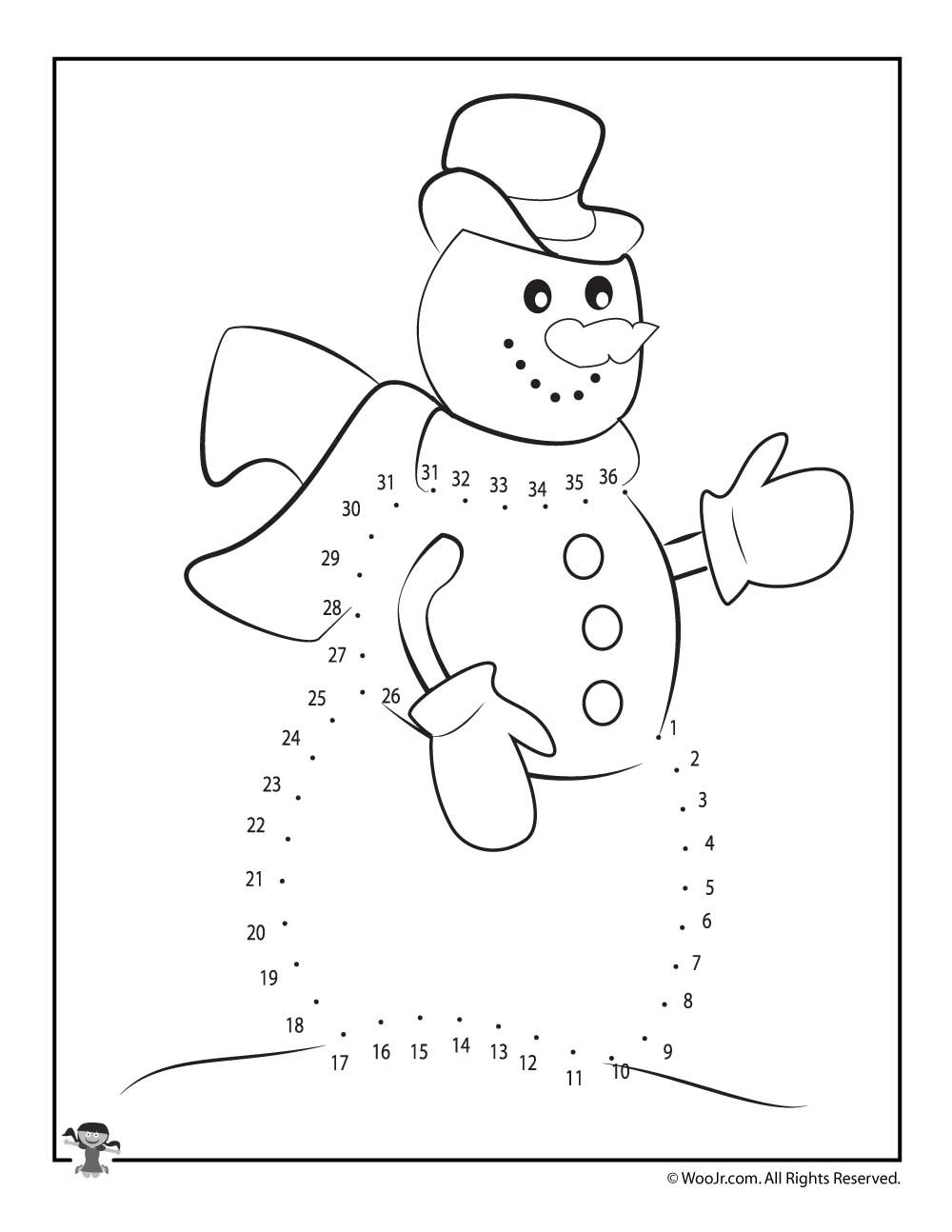 Christmas Connect the Dots Printables Winter Snowman Dot to Dot Printable