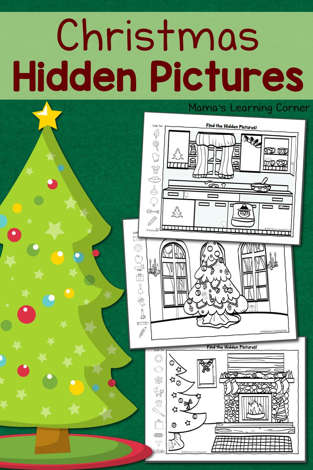 Christmas Hidden Picture Puzzles Printable Christmas Hidden Worksheets Mamas Learning Corner