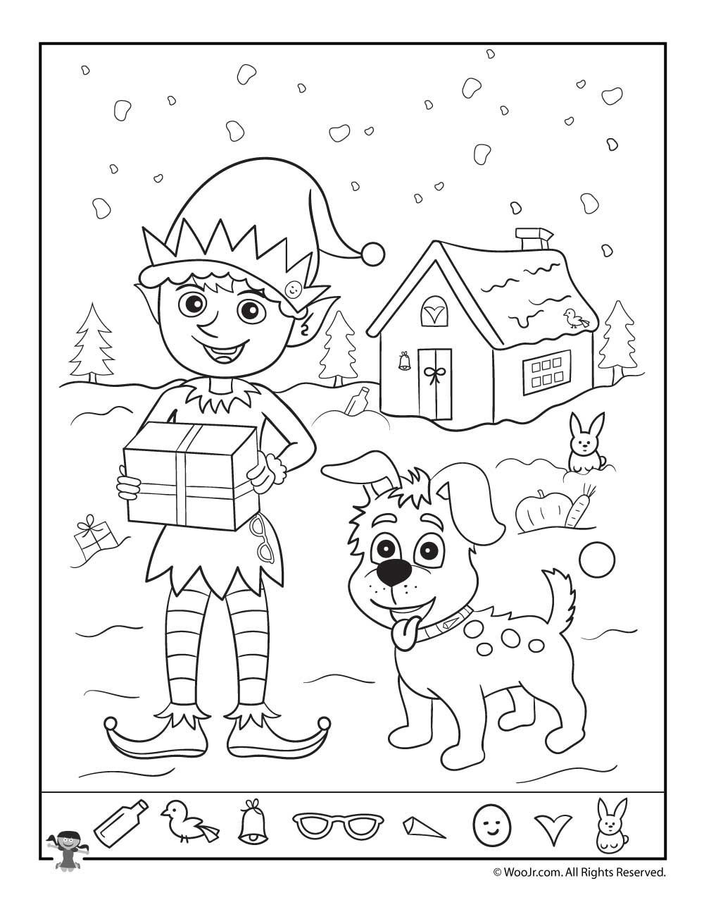 Christmas Hidden Picture Puzzles Printable Santa S Helpers Christmas Hidden Picture Page