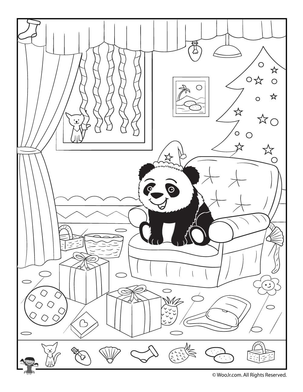 Christmas Hidden Pictures Printable Happy Panda Xmas Hidden Picture Page