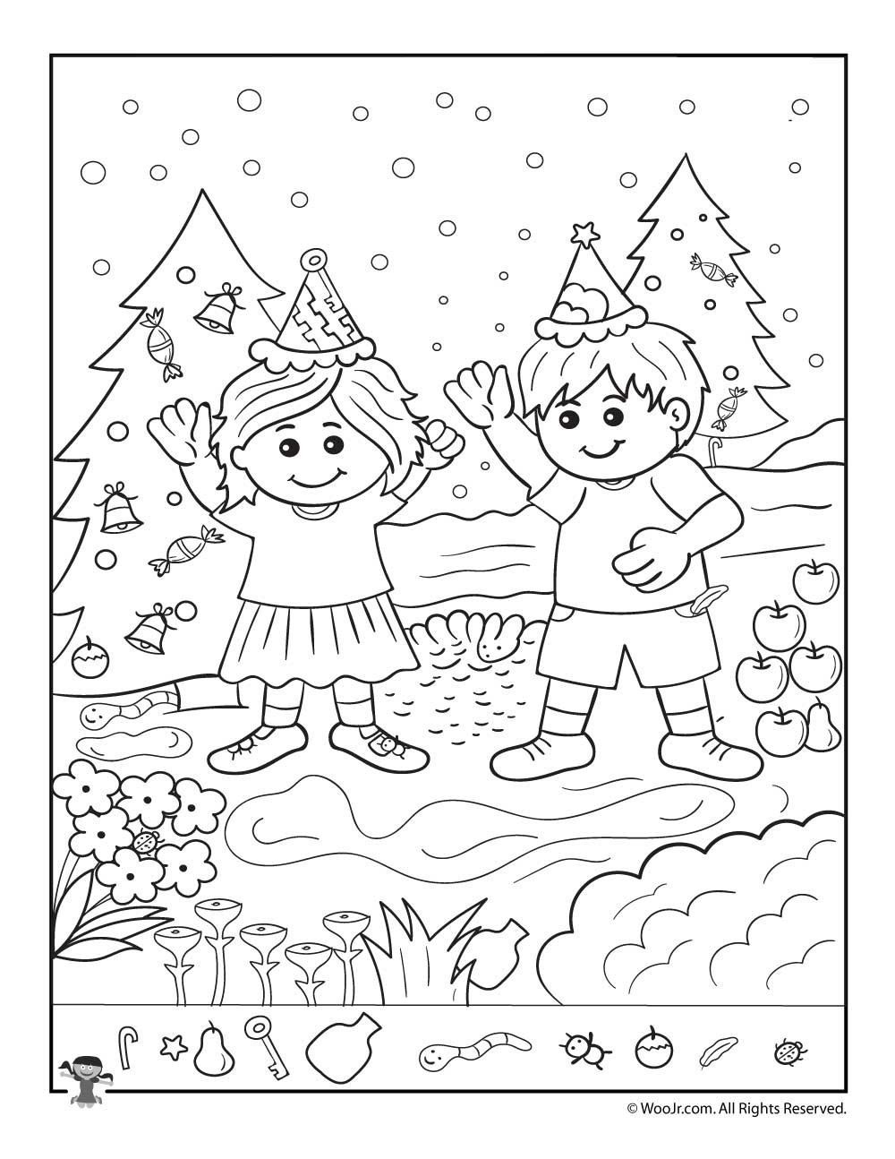 Christmas Hidden Pictures Printable the Kids at Christmas Hidden Picture Page