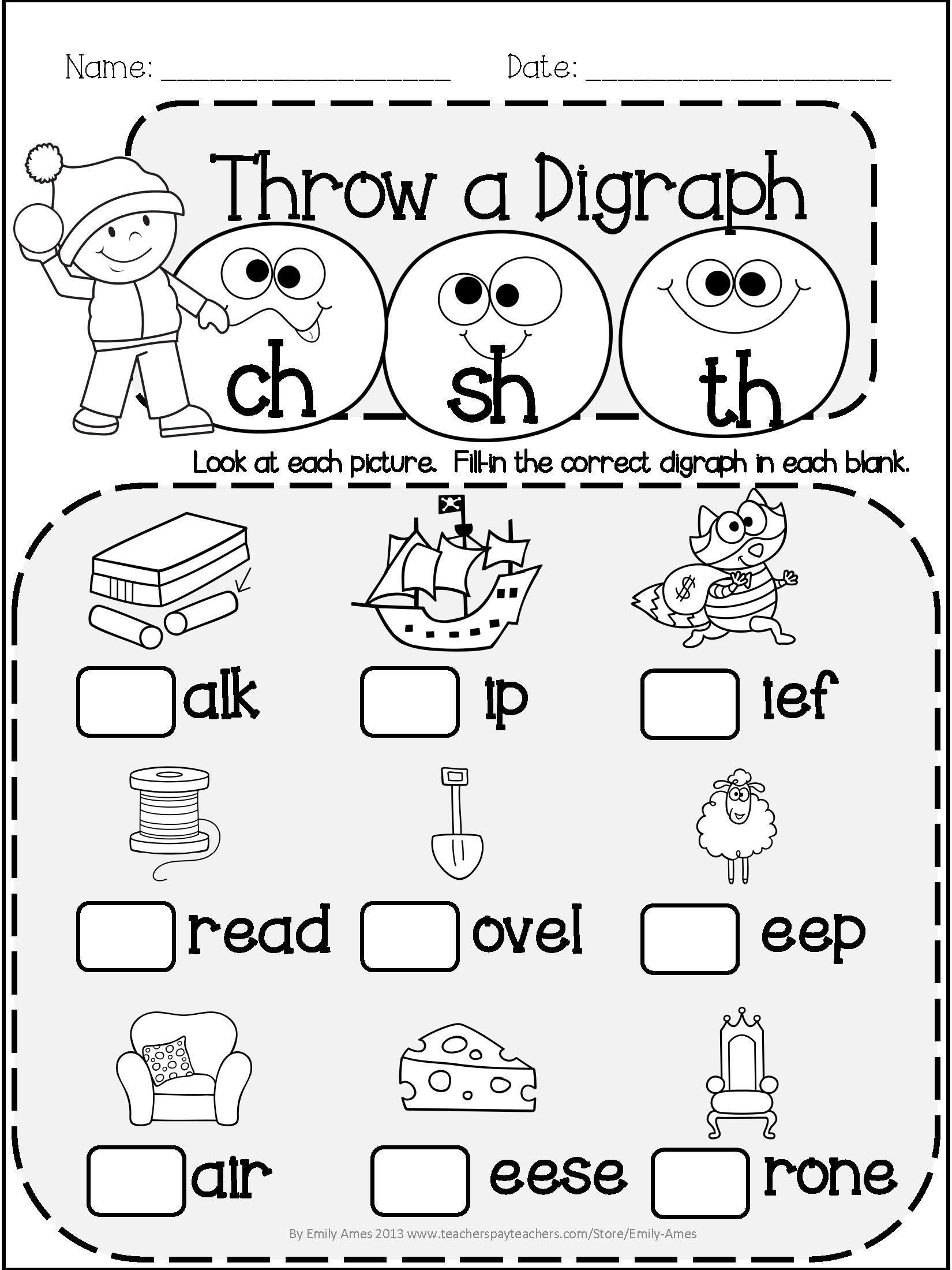 Ck Worksheets for 1st Grade Winter Literacy Fun Short & Long Vowels Digraphs and
