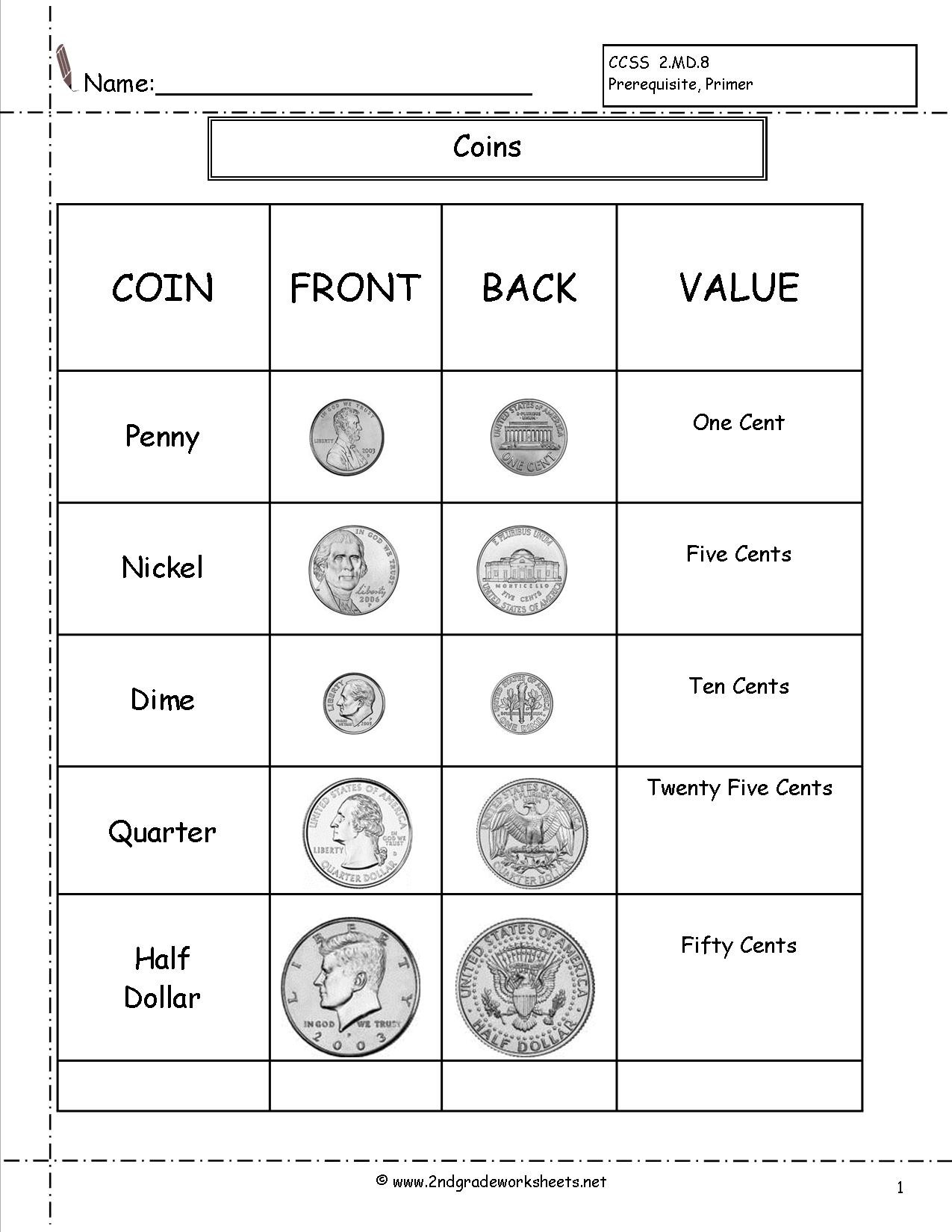 Coin Worksheets First Grade Counting Coins and Money Worksheets Printouts Coin for 2nd