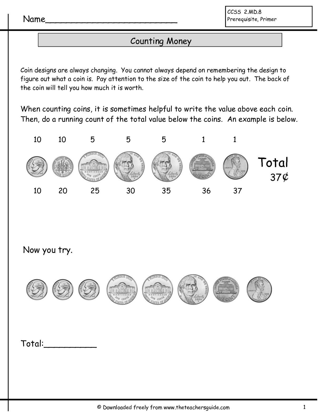 Coin Worksheets First Grade Counting Coins Practice Worksheet