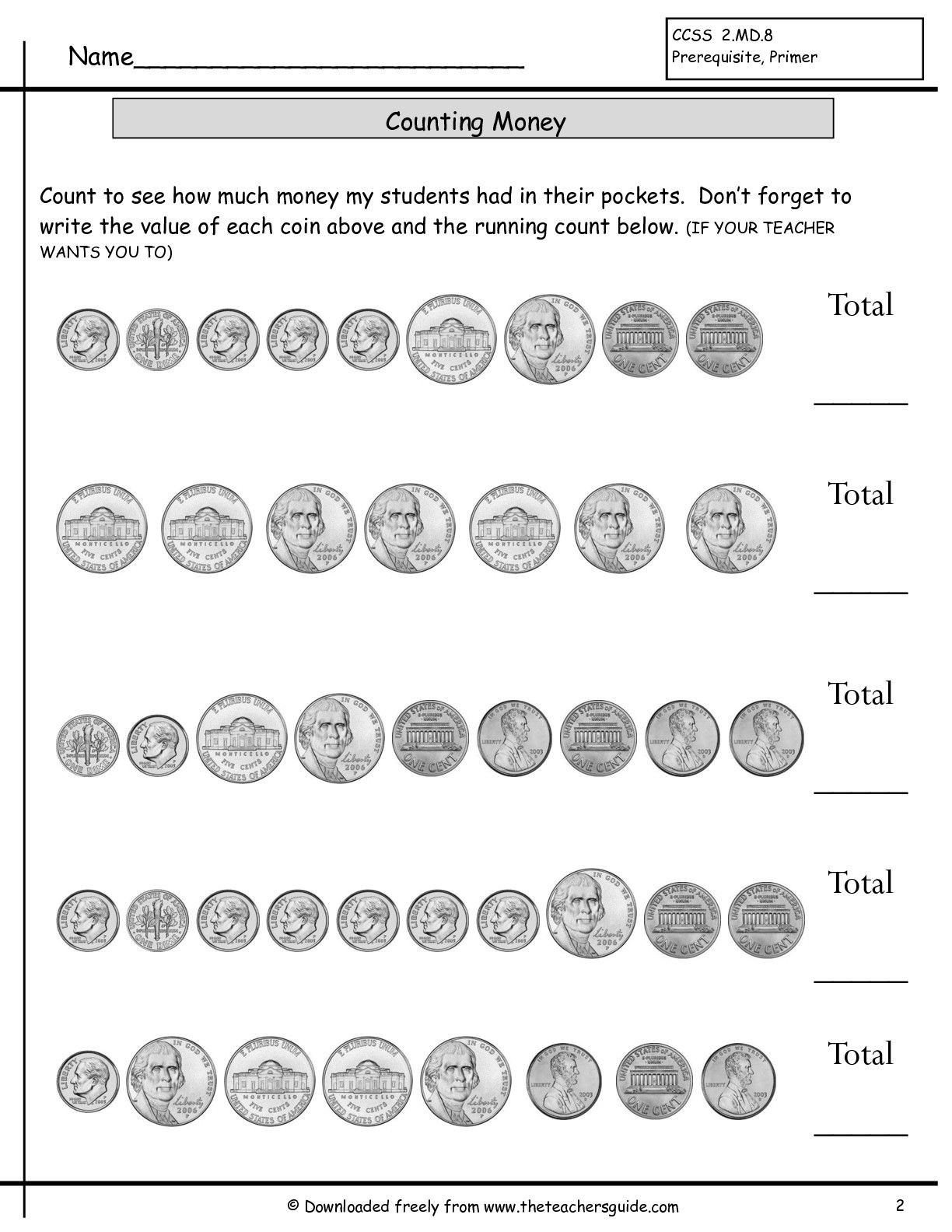 Coin Worksheets First Grade Counting Coins Worksheet with Images