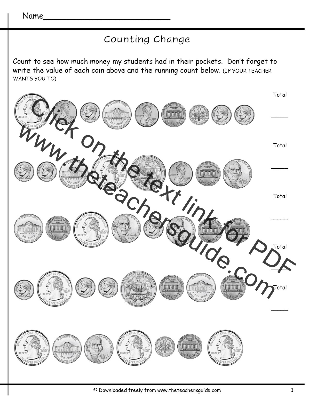 Coin Worksheets First Grade Counting Coins Worksheets From the Teacher Guide Teaching