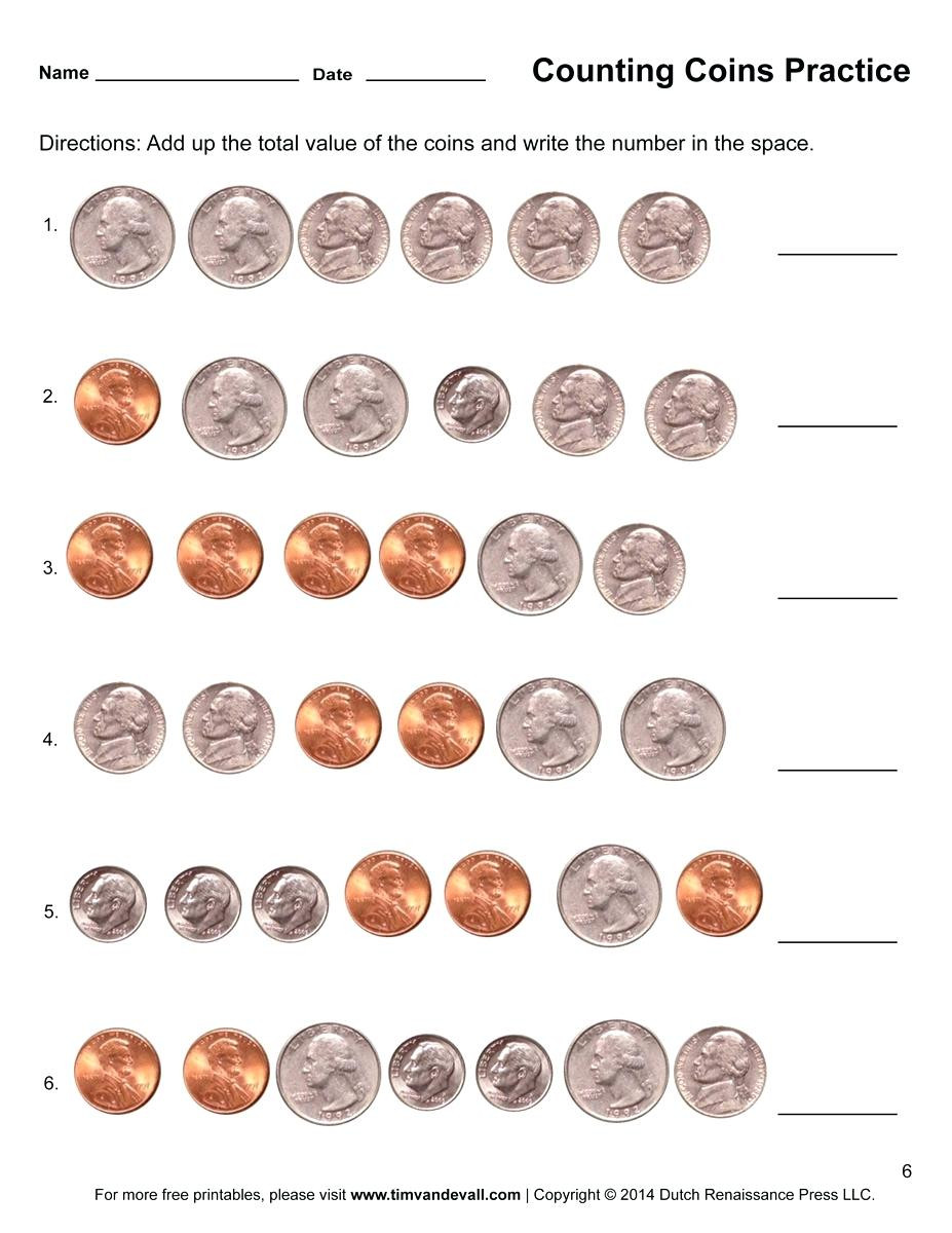 Coin Worksheets First Grade Printable Coins Free Counting Coins Worksheet Counting Money