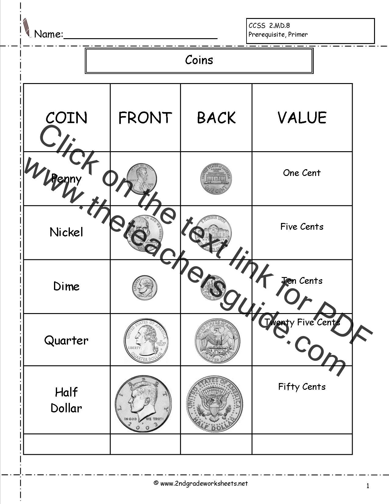 Coin Worksheets for 2nd Grade Counting Coins and Money Worksheets and Printouts
