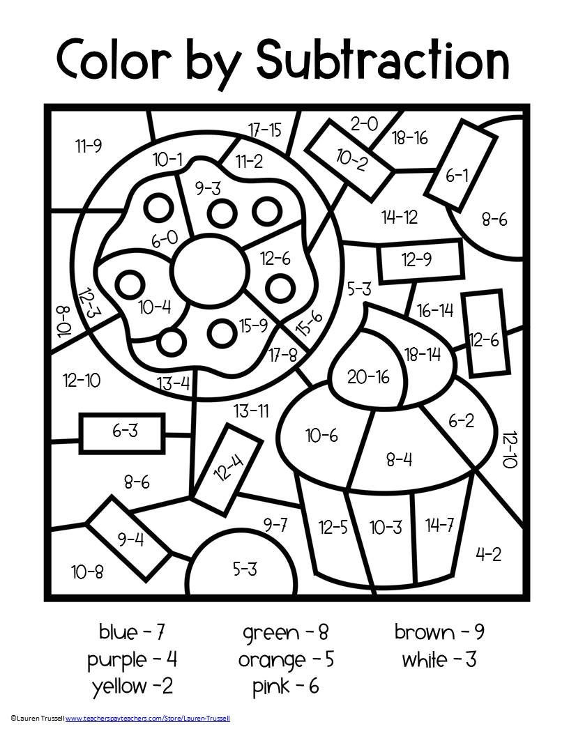 Coloring Worksheets for 2nd Grade Subtraction Color by Number