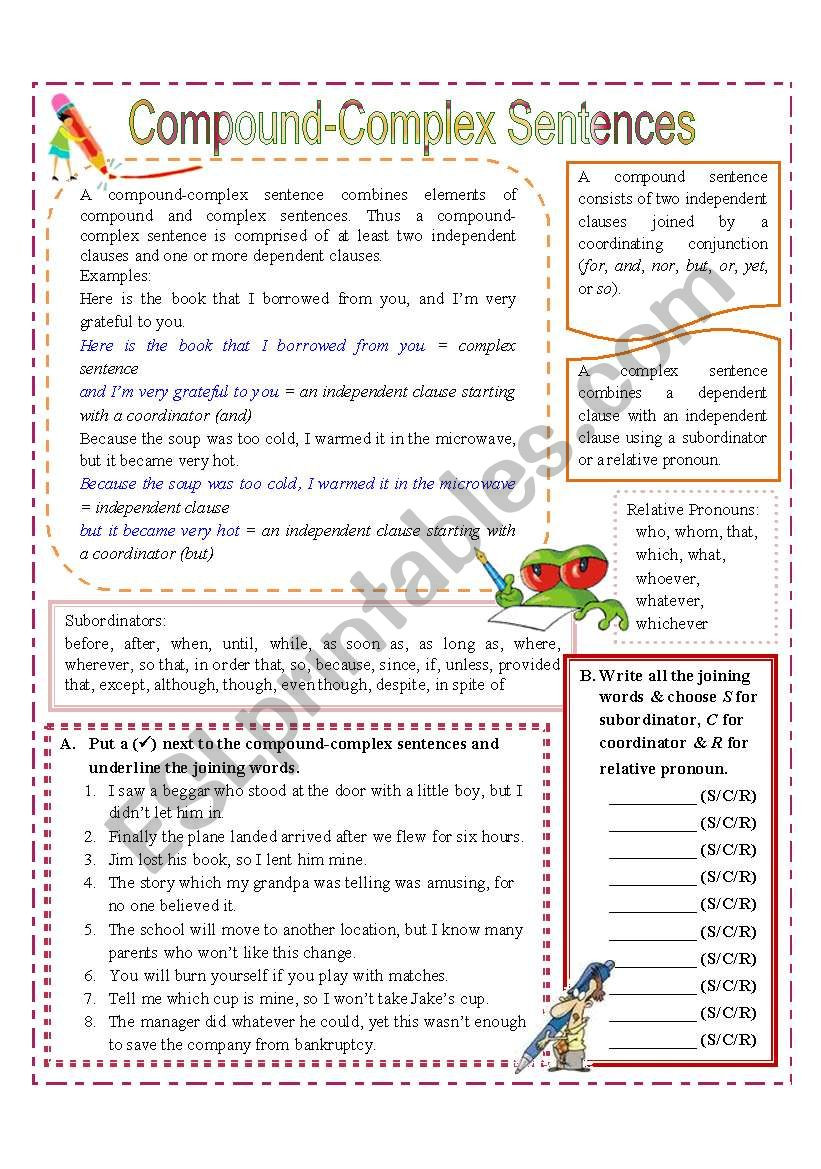 Combining Sentences Worksheets 5th Grade 32 Pound Plex Sentences Worksheet with Answer Key