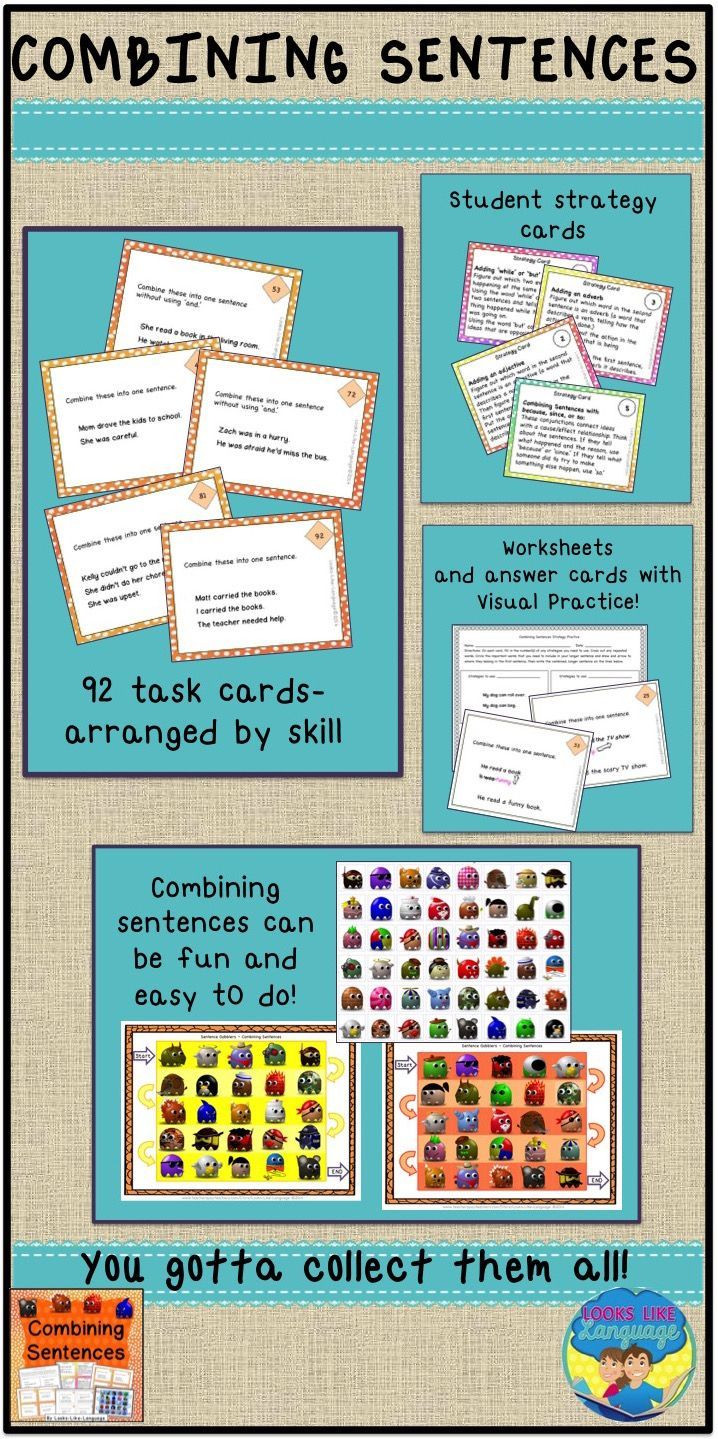 Combining Sentences Worksheets 5th Grade Bining Sentences Made Easier with 92 Task Cards at Varied