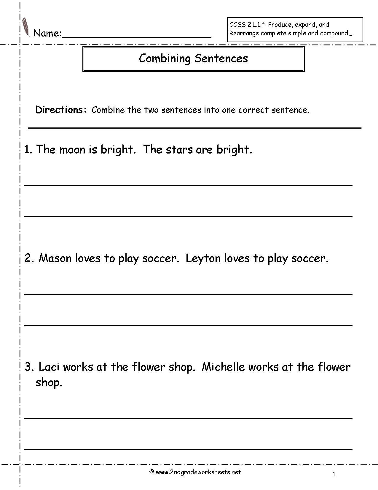 Combining Sentences Worksheets 5th Grade Bining Sentences Worksheet